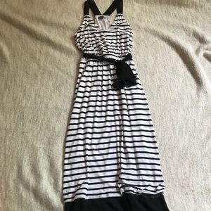 Black and White Striped Maxi Dress with Tie